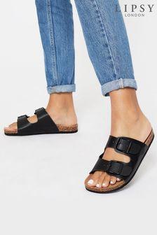 Lipsy Black Buckle Strap Footbed Flat Sandal