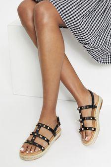 Lipsy Brown Studded Espadrille Flat Sandal