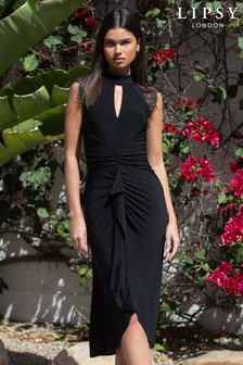 Lipsy Black Eyelash Trim Slinky Midi Dress
