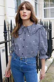 Love & Roses Black and white Frill Collar Printed Shirt
