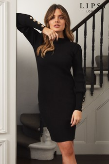 Lipsy Black Military Button Knitted Dress