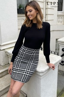 Lipsy Monochrome Boucle 2 in 1 Knitted Dress