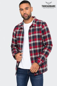 Threadbare Red Check Quilted Overshirt