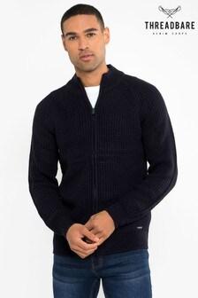 Threadbare Navy Zip Through Cardigan With Wool