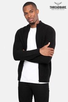 Threadbare Black Zip Through Cardigan With Wool