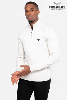 Threadbare White Cotton Rich Zip Neck Jumper