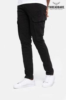 Threadbare Black Zen Cargo Trousers