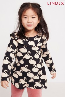 Lindex Black Kids All Over Swan Print Frill Shoulder Tunic