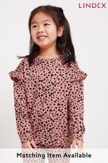 Lindex Pink Heart Kids Frill Shoulder Sweater