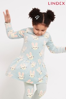 Lindex Blue Kids Bunny Print Frill Hem Tunic