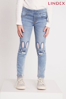 Lindex Blue Kids Bunny Print Denim Jeggings