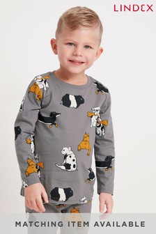 Lindex Grey Animals Kids All Over Print Long Sleeve Top