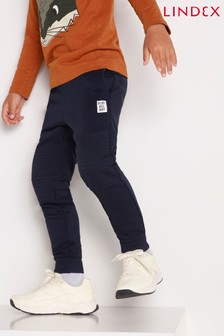 Lindex Navy Kids Textured Knee Joggers