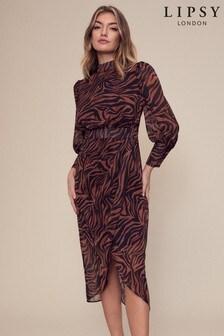 Lipsy Animal Wrap Skirt Midi Dress