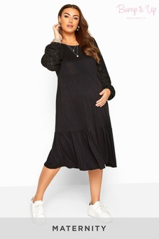 Bump It Up Black Maternity Broderie Anglaise Sleeve Tiered Dress