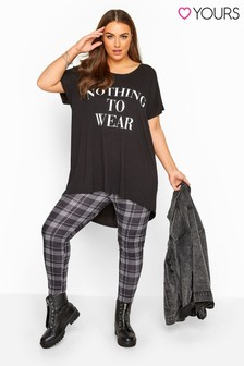 Yours Black Curve Check Jersey Leggings