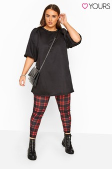 Yours Red Check Curve Check Jersey Leggings