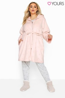 Yours Pink Curve Star Print Zip Dressing Gown