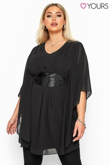 Yours Black Curve Sequin Waist Chiffon Tunic