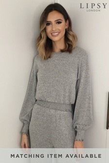 Lipsy Grey Lounge Shirred Cosy Top