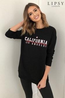 Lipsy Black Cali Longline Sweatshirt