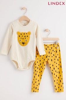 Lindex Yellow Cheetah Baby Long Sleeved Bodysuit With Leggings Set