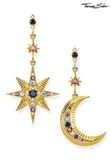 Thomas Sabo Gold Moon And Star Alternate Earings
