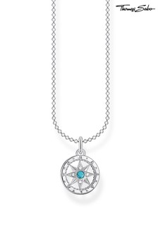 Thomas Sabo Silver Compass Pendant And Chain Necklace