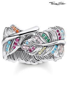 Thomas Sabo Silver Colourful Feather Ring