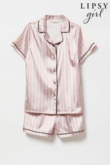 Lipsy Pink Stripe Satin Pyjama Set