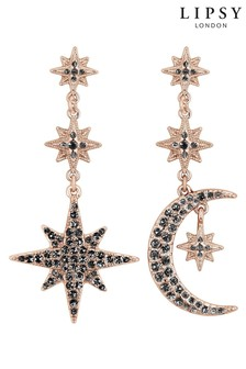 Lipsy Jewellery Rose Gold Plated Black Crystal Moon And Star Drop Earring