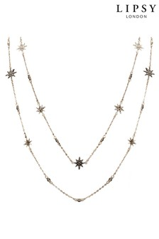 Lipsy Jewellery Rose Gold Plated Black Crystal Celestial Double Row Necklace