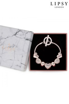 Lipsy Jewellery Rose Gold Crystal Charm Bracelet