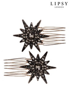 Lipsy Jewellery Rose Gold Plated Black Crystal Star Hair Combs