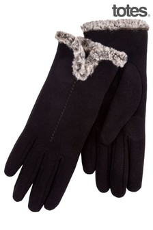Totes Black Thermal Glove With Fur Cuff And Stitching