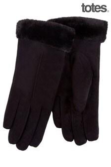 Totes Black Faux Suede Fur Cuff Glove