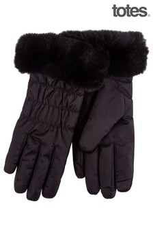 Totes Black Water Repellent Padded Smartouch With Faux Fur Cuff