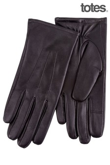 Totes Black 3 Point Smartouch Leather Glove