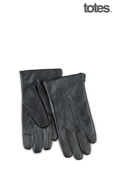 Totes Black Mens 3 Point Leather Glove W Water Repellent Smartouch