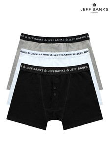 Jeff Banks White Mens 3 Pack Multipack Boxers