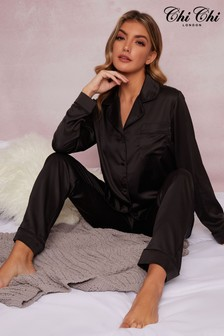 Chi Chi London Black Tyler Long Pyjama Set