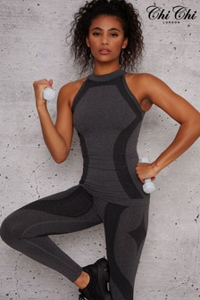 Chi Chi London Black Erin Sports Top