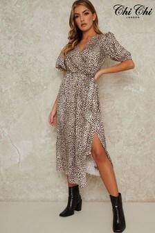 Chi Chi London Animal Print Emily Maxi Dress