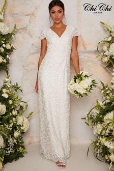 Chi Chi London White Bridal Shauni Dress