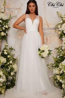 Chi Chi London White Bridal Kirsty Dress