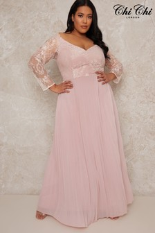 Chi Chi London Pink Curve Lace Bridesmaid Maxi Dress With Long Sleeves