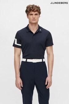 JLindeberg Navy Regular Fit Golf Polo Shirt  With Arm Logo