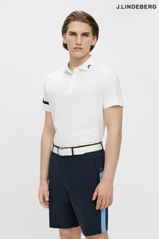 JLindeberg White Regular Fit Golf Polo Shirt  With Arm Logo