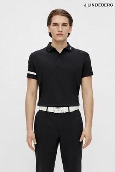JLindeberg Black Regular Fit Golf Polo Shirt  With Arm Logo