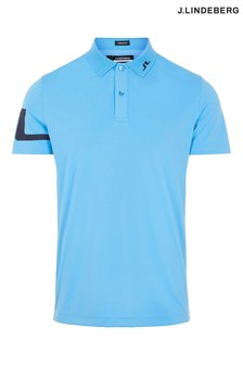 JLindeberg Ocean Blue Regular Fit Golf Polo Shirt  With Arm Logo